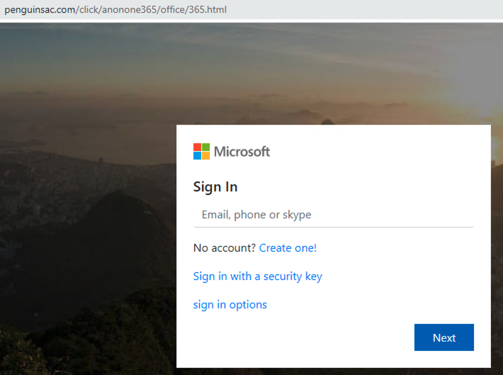 This shows a screenshot of a fake login page hosted on a malicious domain detected by our proactive DNS security method. It attempts to steal victims' credentials for Microsoft Office.