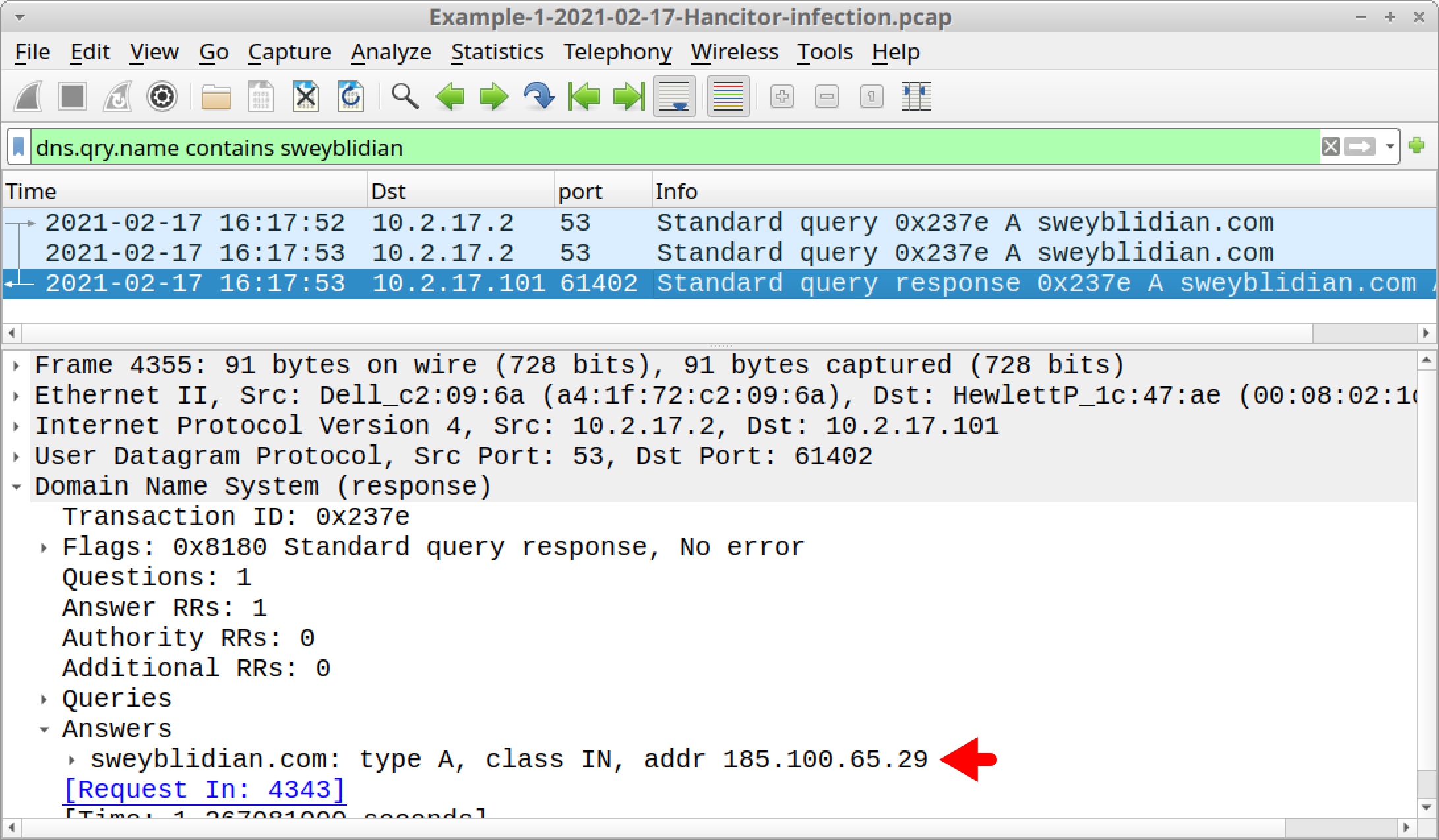 The red arrow indicates the IP address used for sweyblidian[.]com