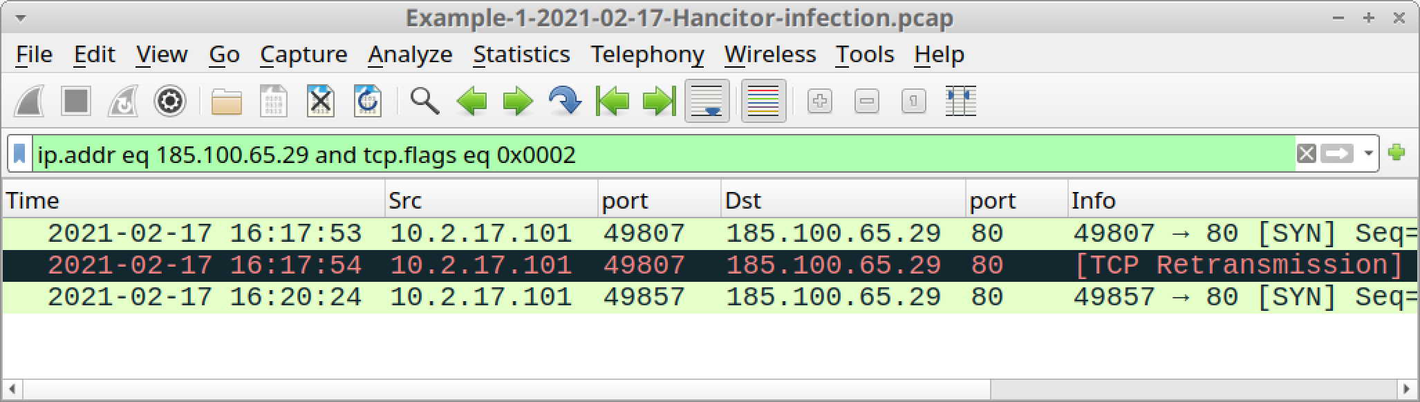 The screenshot shows how the Wireshark column display should appear after filtering for TCP streams to the IP address used for sweyblidian[.]com.