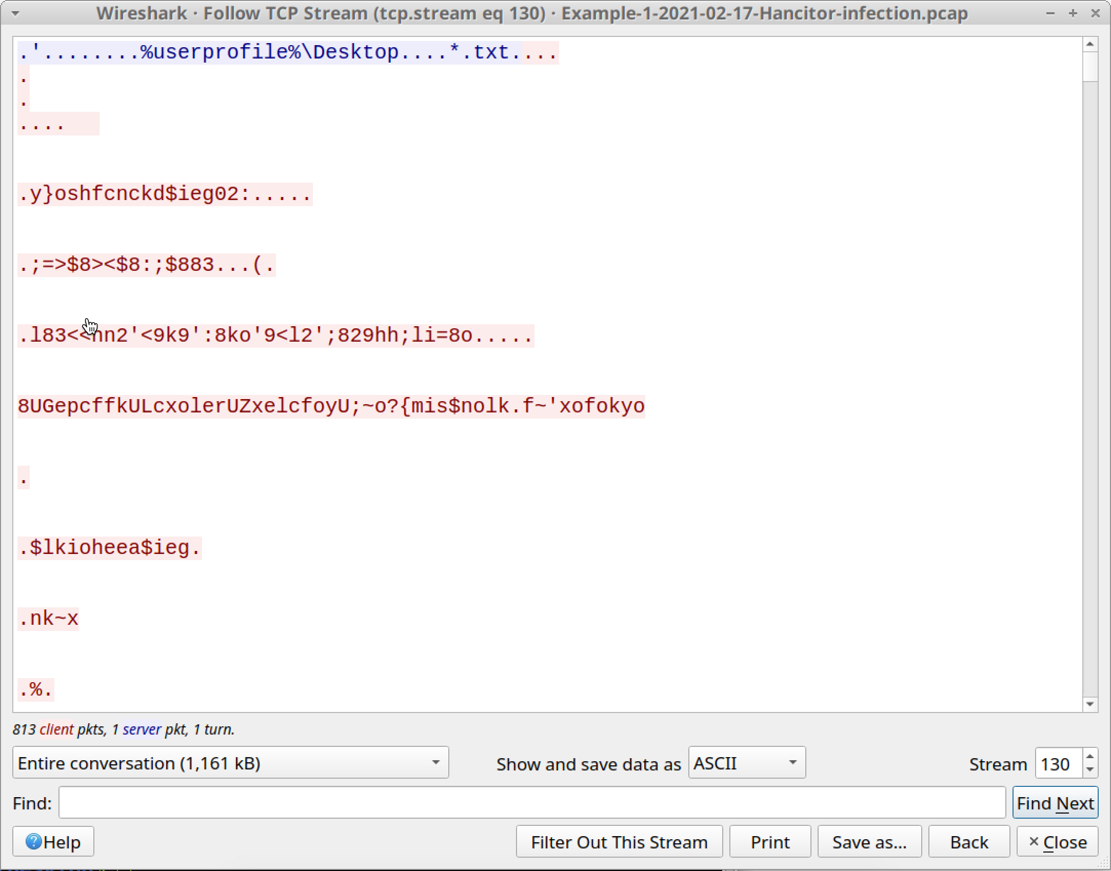 The screenshot shows how the majority of data from the TCP stream appears encoded or otherwise obfuscated.