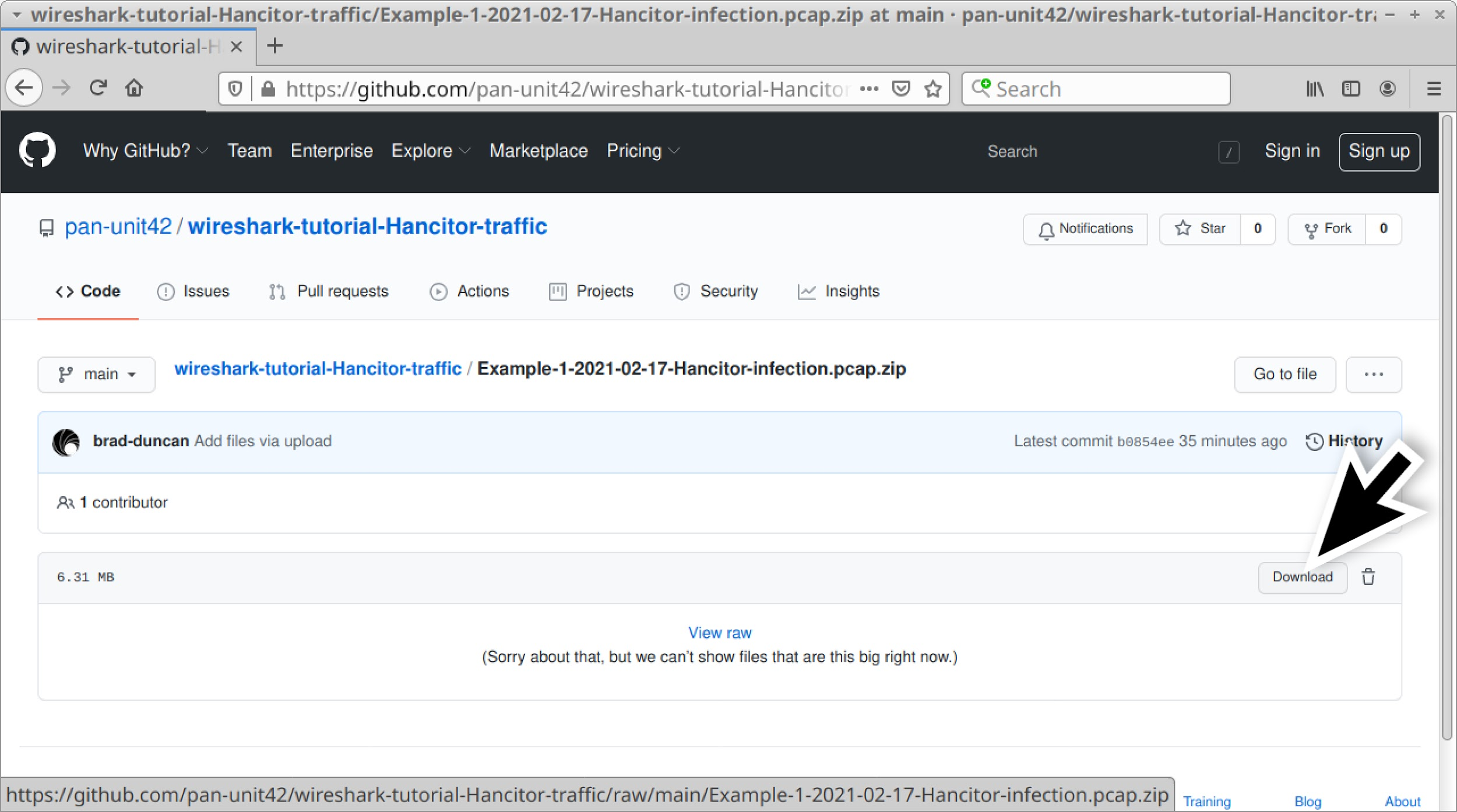 Once a ZIP archive is selected from the GitHub repository, the large black arrow shows where to click to download it.