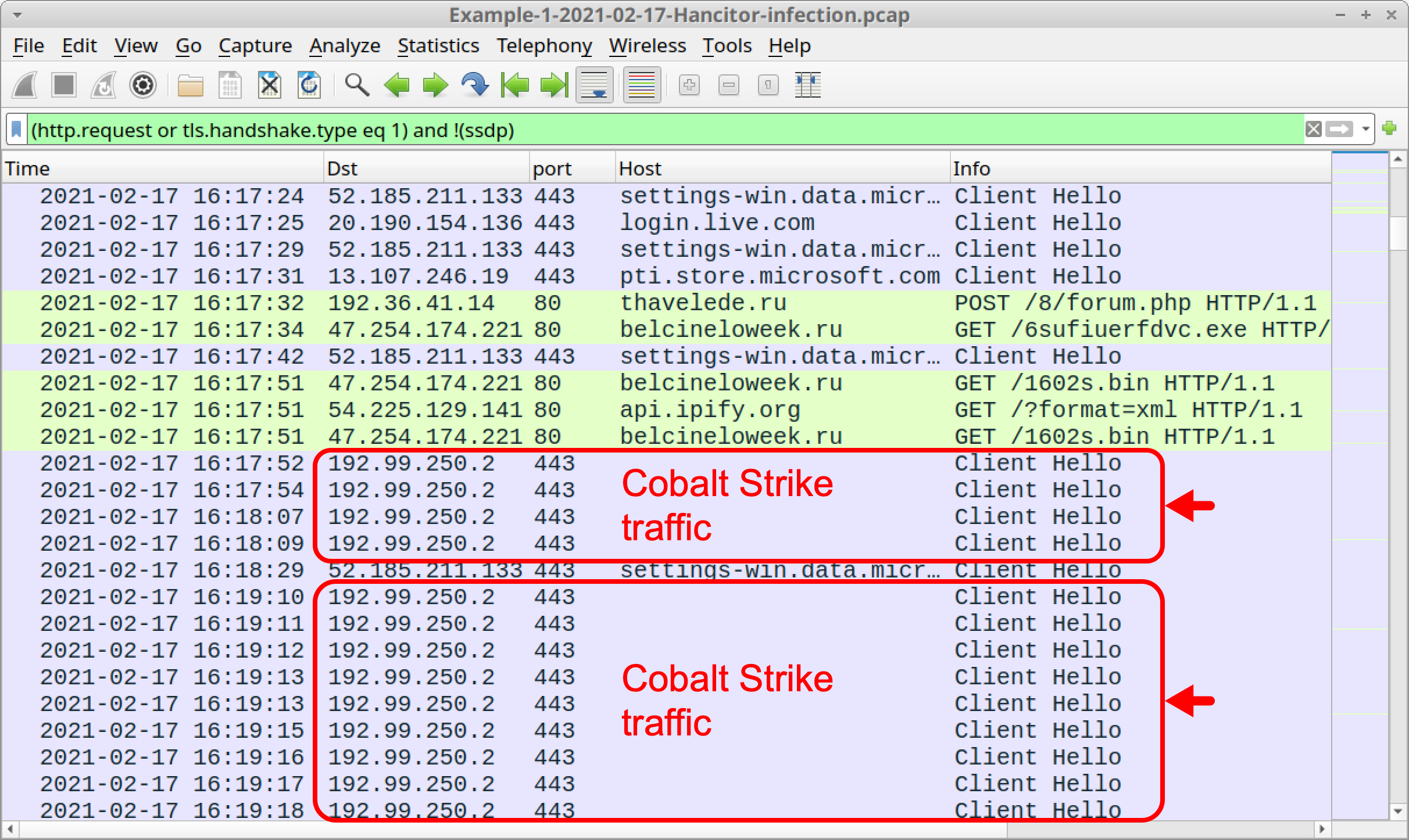 Red arrows indicate the lines in the Wireshark column display that relate to traffic from the infected Windows host caused by Cobalt Strike.