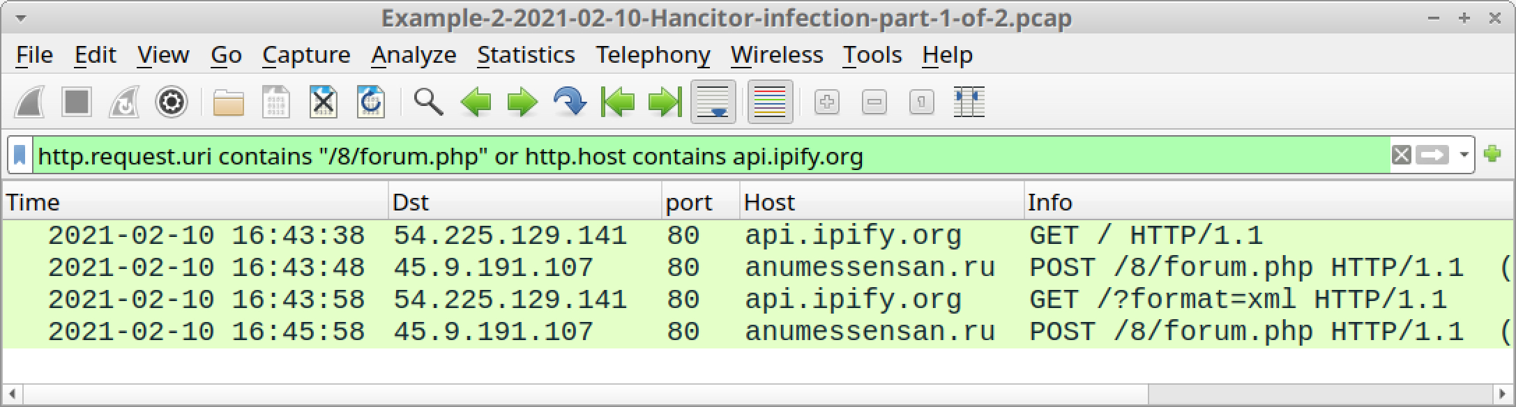 The screenshot shows the results of filtering for IP address checks by Hancitor and Ficker Stealer, along with Hancitor C2 traffic.