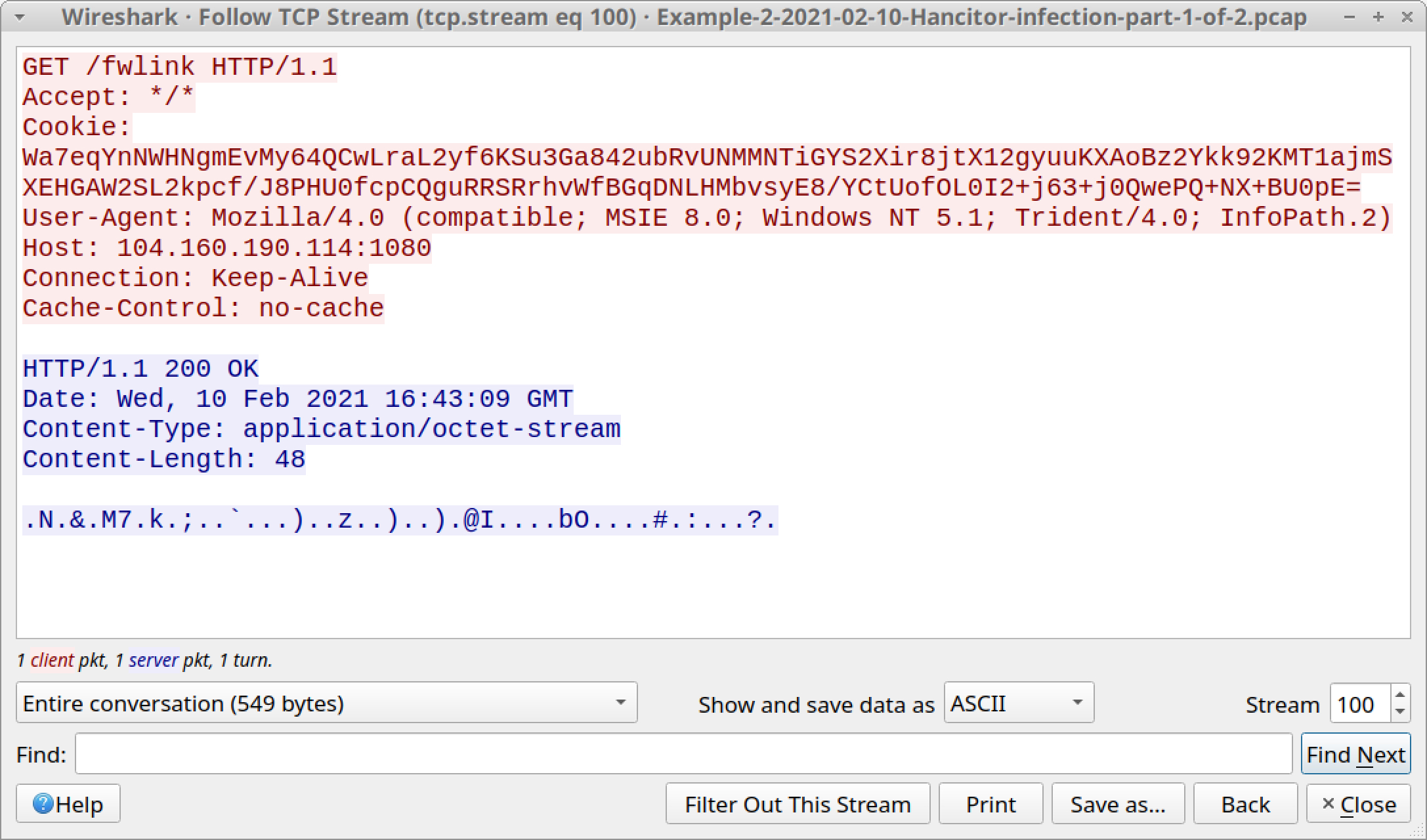 The first HTTP request to 104.160.190[.]114:8080 for fwlink returned 48 bytes of encoded data, shown here.