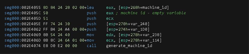 Figure 2. Function call to generate a machine identifier (machine-ID value).