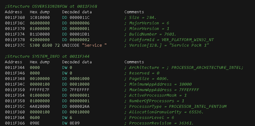 Figure 5. OSVERSIONINFOW and SYSTEM_INFO structures filled up by API calls.