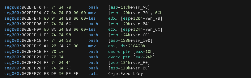 Figure 17. Function call to CryptExportKey wrapper.
