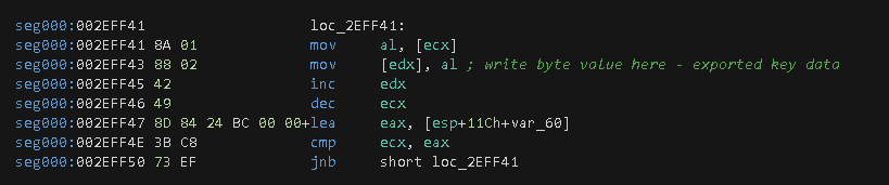 Figure 18. Write loop to populate exported crypto key data.