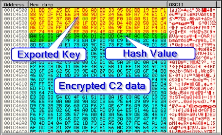 Figure 20. In-memory byte inclusion of Exported Key, Hash Value and Encrypted C2 data.