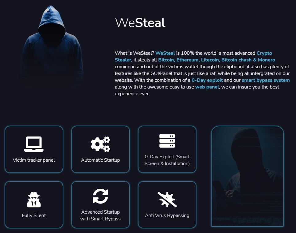 Updated WeSteal Marketing offers support for additional cryptocurrencies, including Bitcoin, Ethereum, Litecoin, Bitcoin Cash and Monero.