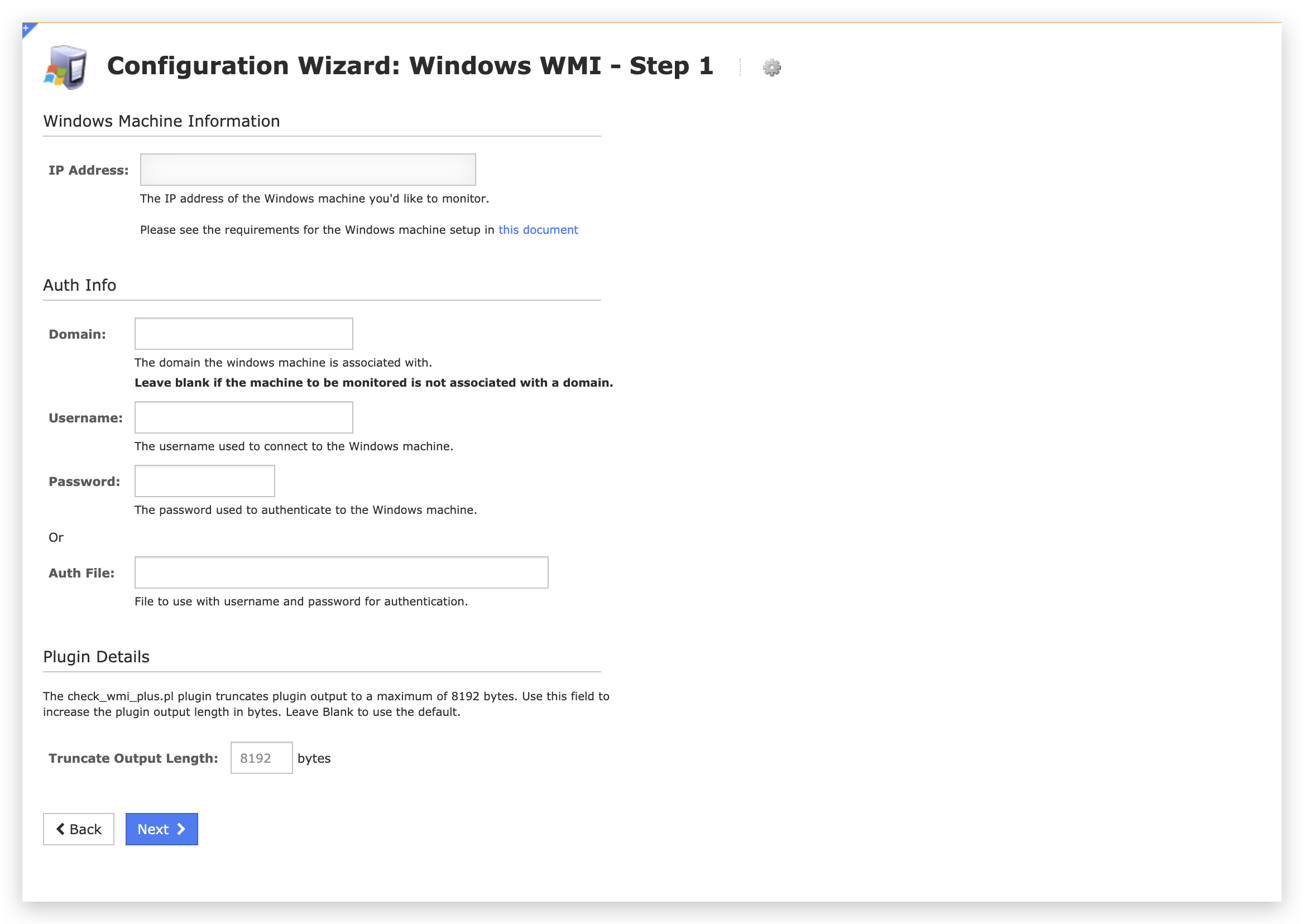 The image depicts a screenshot of Step 1 in the Configuration Wizard: Windows WMI workflow