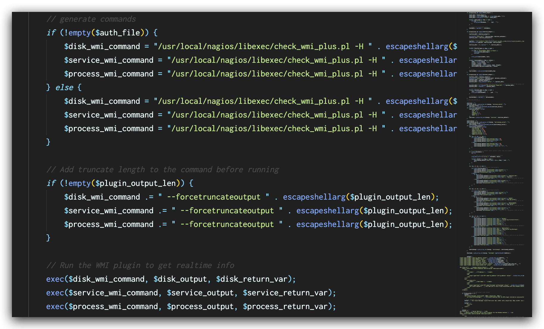 The image depicts code view of the fix, indicating that the escapeshellarg() function is present to validate user input