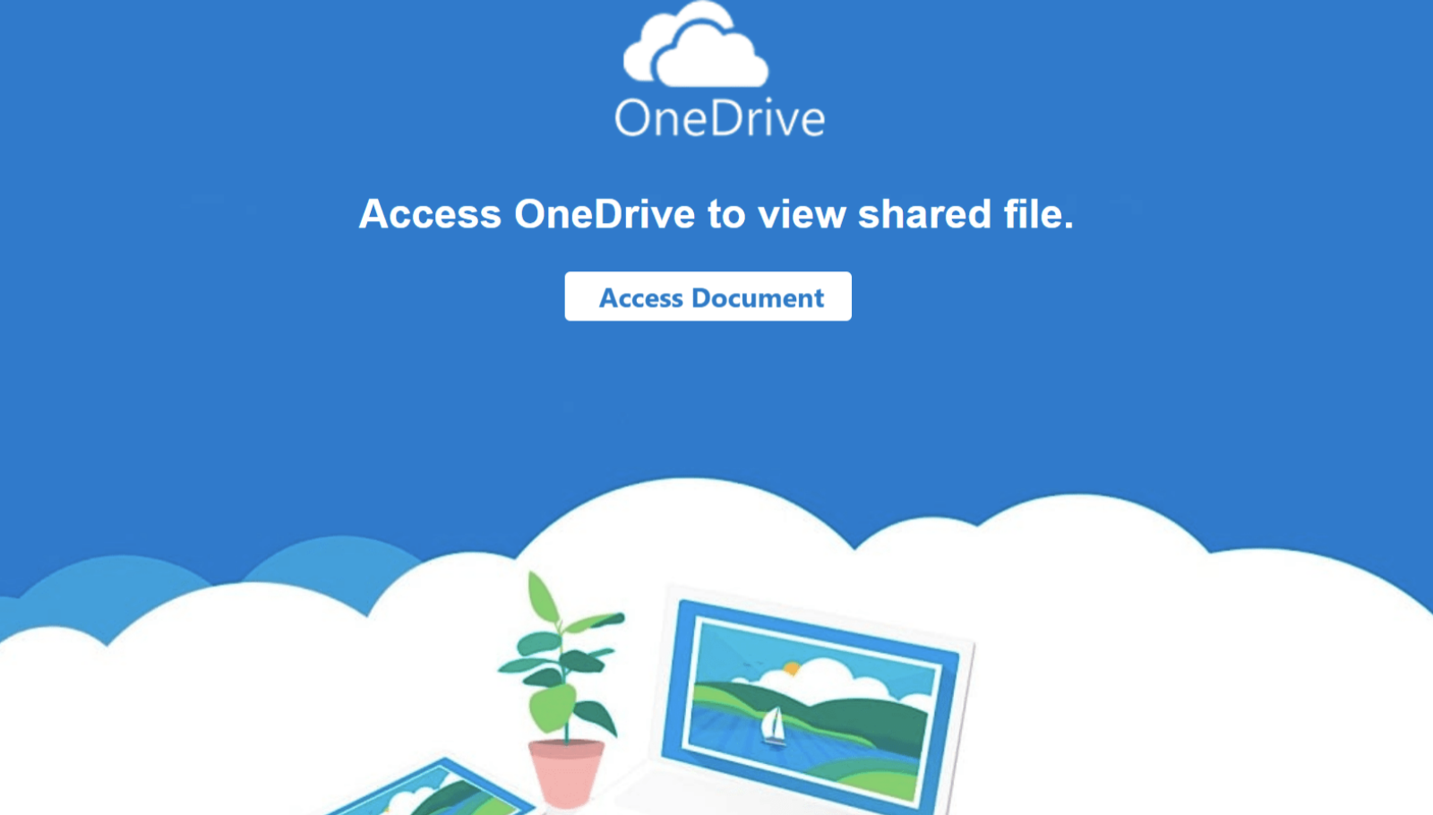 "This shows a picture of a PDF file with a OneDrive logo, asking the user to click on ""Access Document"" to view the content of the file."