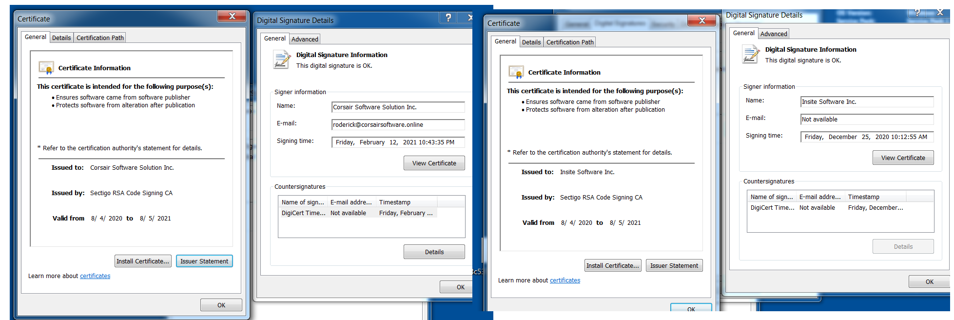 Clop ransomware leverages code signing to evade detection. The image shows two signers we observed in our research.