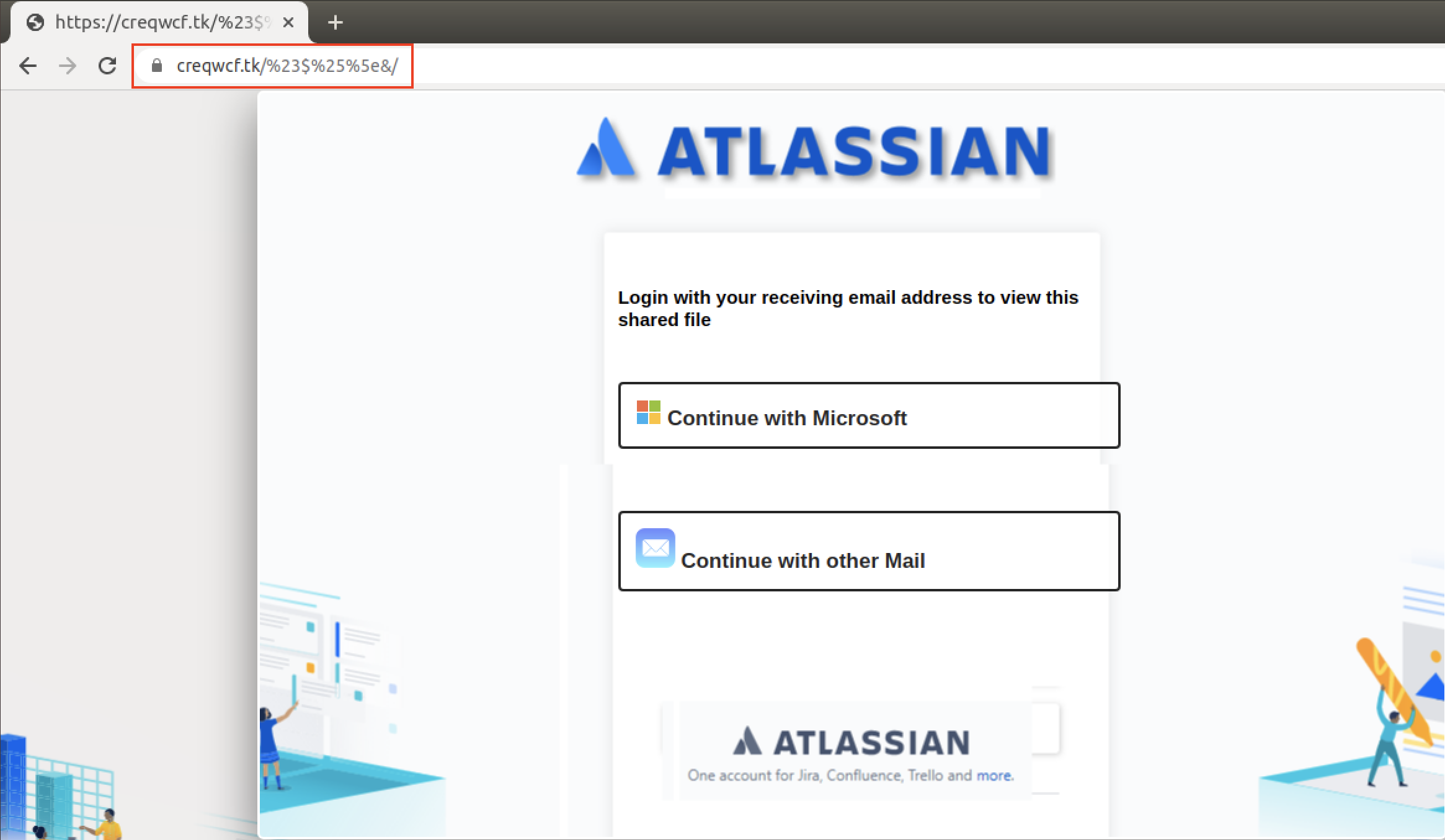 "Clicking on the ""Access Document"" button shown in the figure above took us to a login page with an Atlassian logo, as shown here."