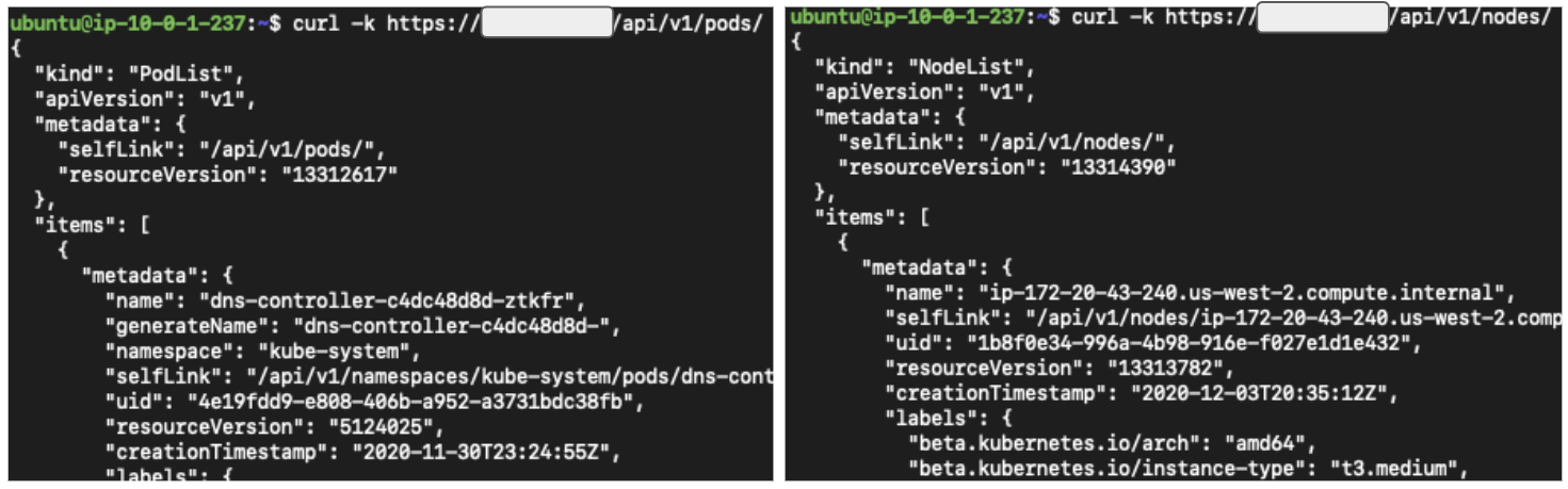Figure 2. Accessing kube-apiserver anonymously using curl.