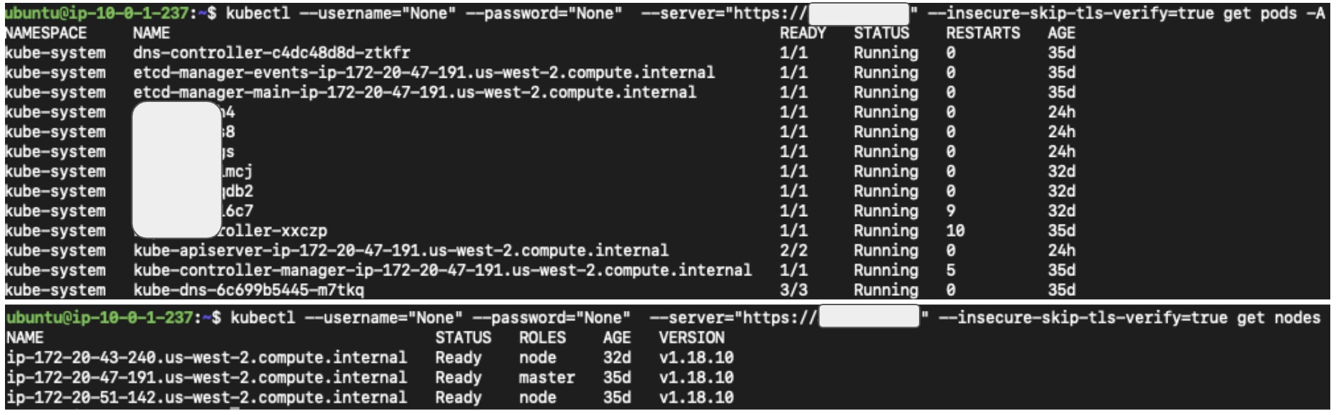 Figure 3. Accessing kube-apiserver anonymously using kubectl. Note that kubectl needs a dummy username and password to send anonymous requests.