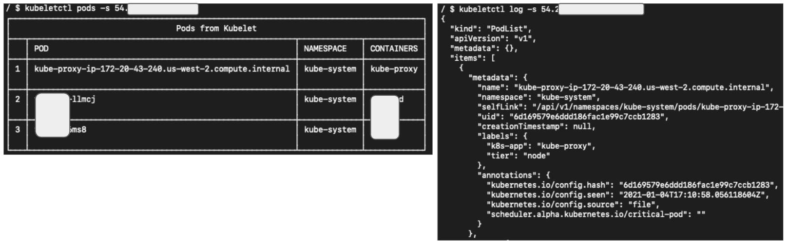 Figure 5. Accessing kubelet server anonymously using kubeletctl.