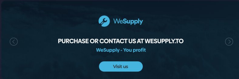 """The WeSupply website advertises itself with the tagline, """"WeSupply - You profit,"""" as shown in the screenshot."""