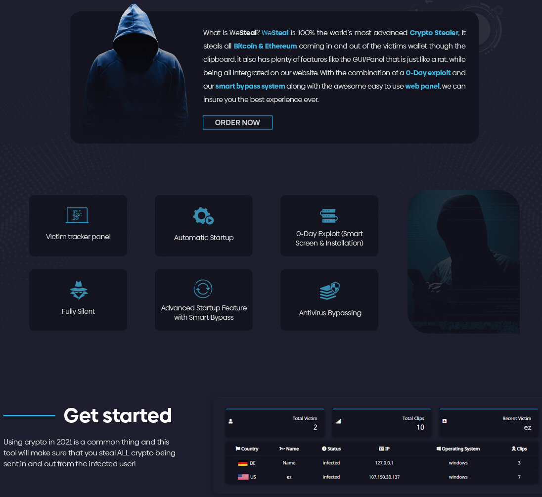 """The screenshot shows an advertisement for WeSteal, which describes the malware as """"the world's most advanced Crypto Stealer."""" It offers features including a Victim tracker panel, Automatic startup, 0-Day Exploit (Smart Screen and Installation), Fully Silent, Advanced Startup Feature with Smart Bypass, and Antivirus Bypassing."""