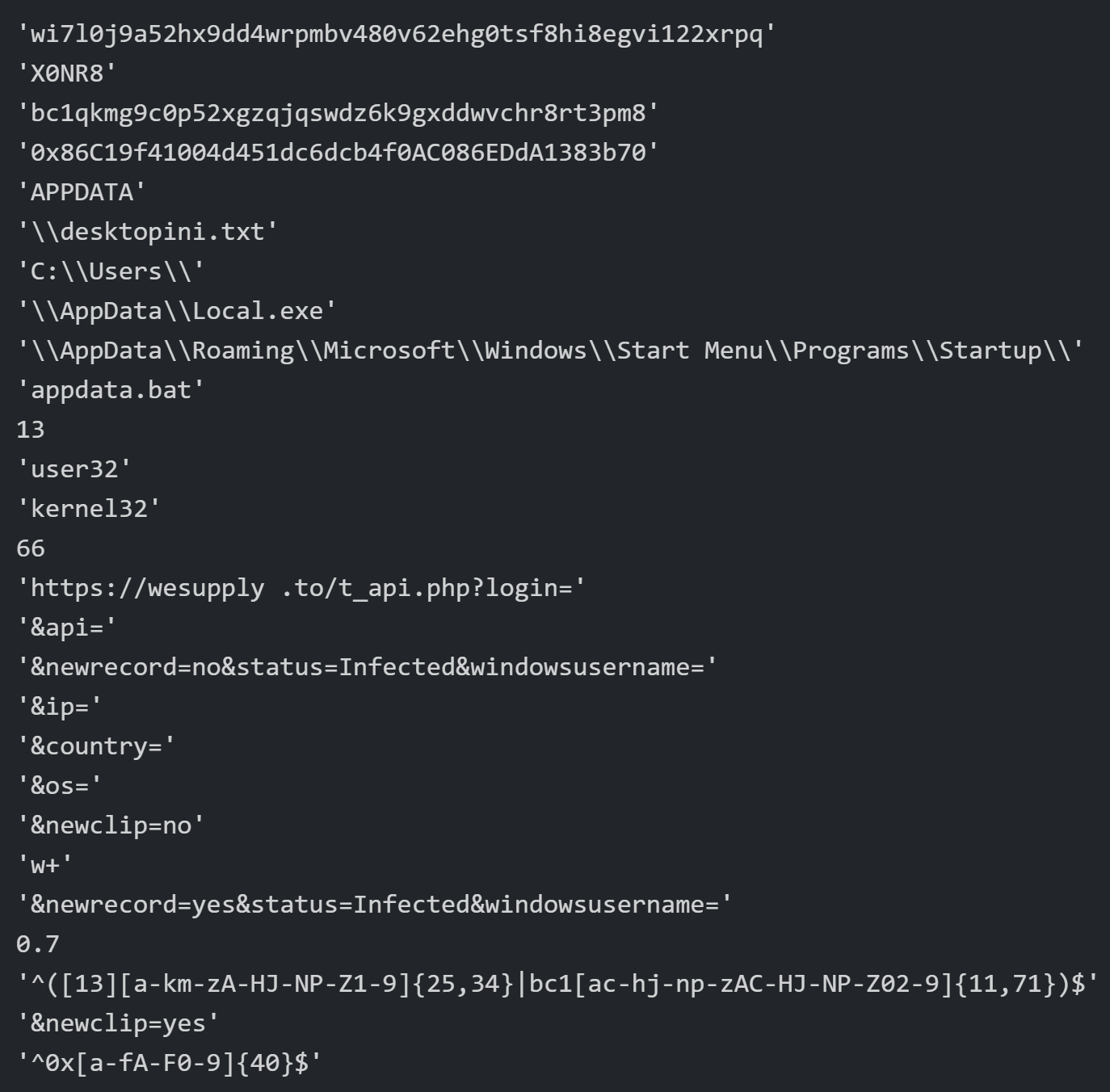 The regular expressions specifically describing the formats of Bitcoin and Ethereum wallets are seen in the constants identified in the decrypted WeSteal sample shown here.