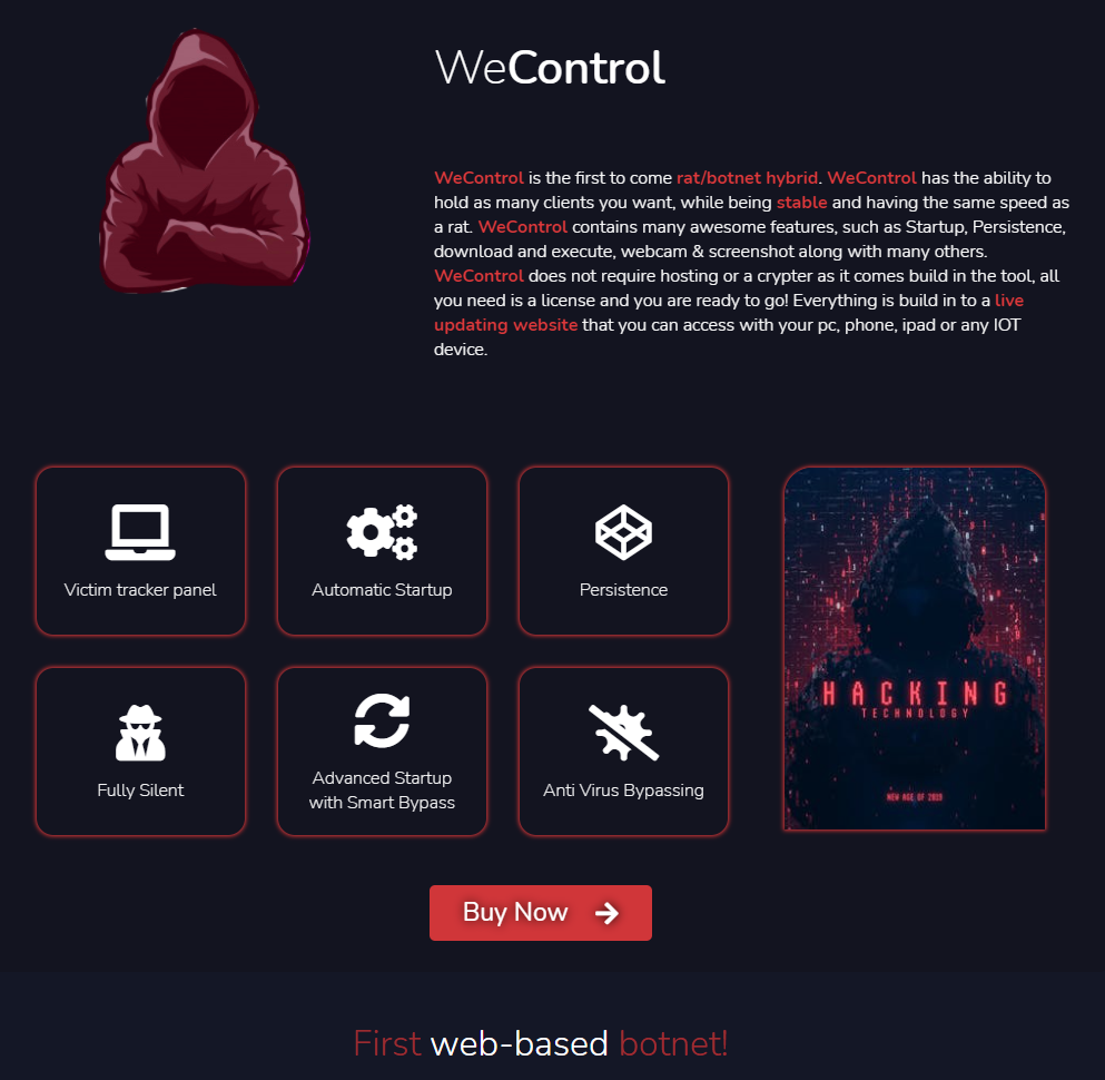 """WeControl is advertised on WeSupply's website as """"the first to come rat/botnet hybrid."""""""