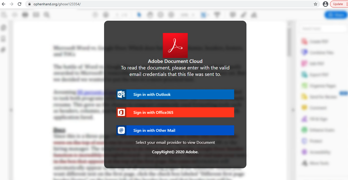 This shows an example of a phishing domain that hosts a fake shared document requesting Microsoft Outlook and Office 365 account credentials.