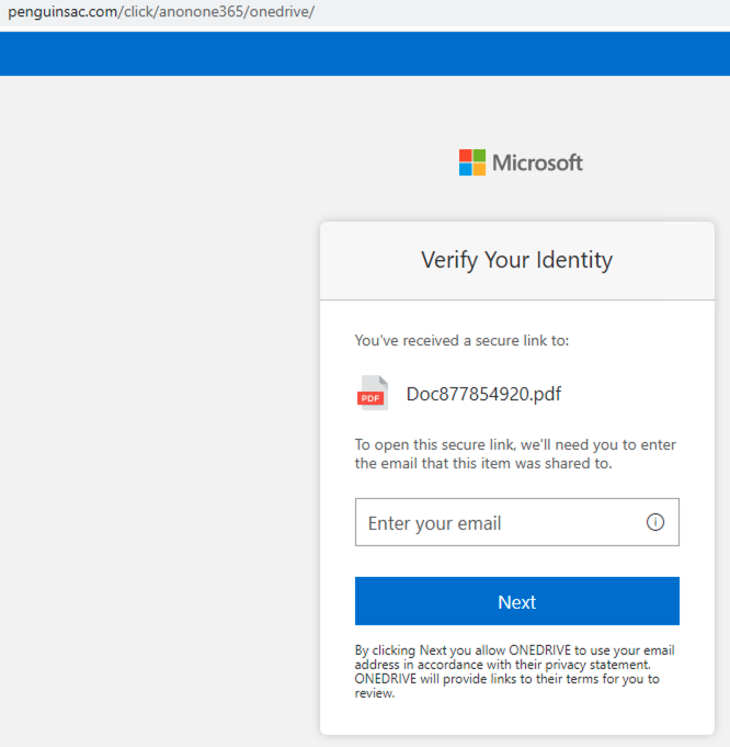 This shows a screenshot of a fake login page hosted on a malicious domain detected by our proactive DNS security method. It attempts to steal victims' credentials for Microsoft OneDrive.