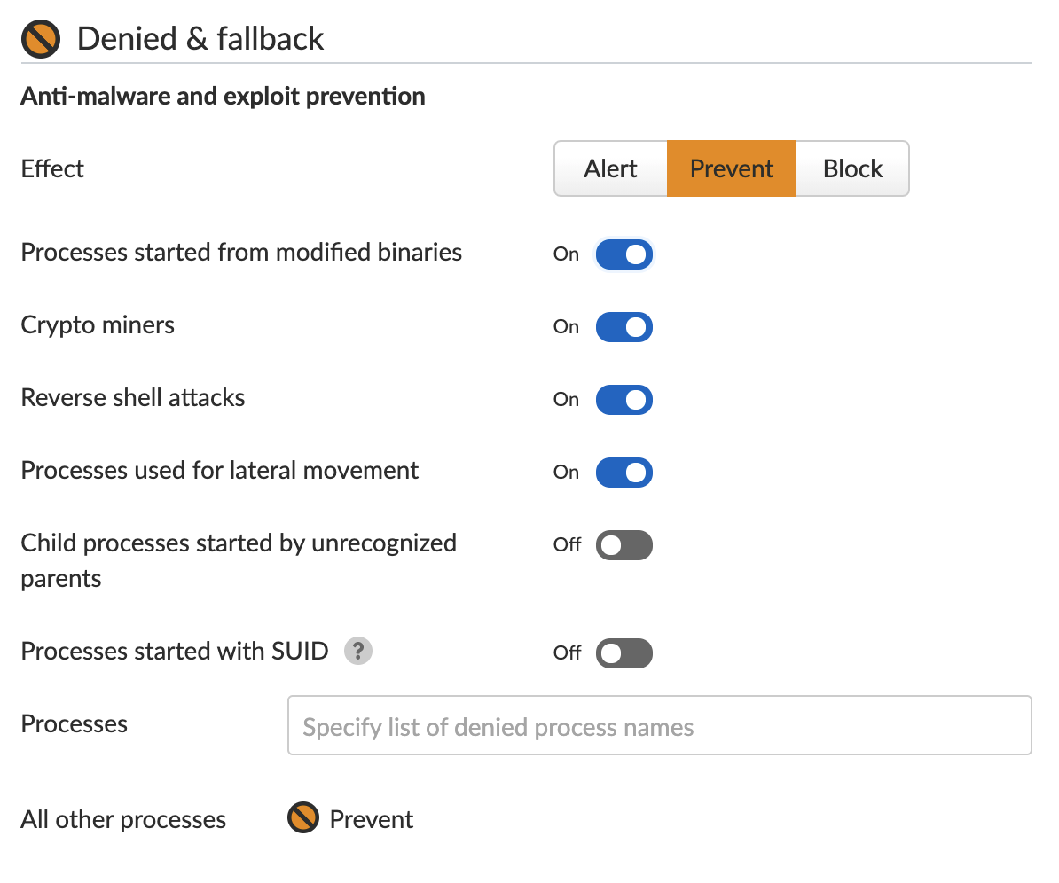 This shows how Prisma Cloud allows a user to choose what action to take in response to unexpected processes beginning to run on an environment. This is part of the Anti-malware and exploit prevention feature.