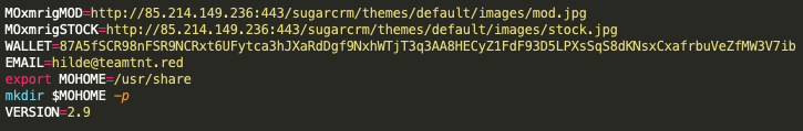 The URL addresses, email address and Monero wallet specifically called out within the sample 36bf7b2ab7968880ccc696927c03167b6056e73043fd97a33d2468383a5bafce are known TeamTNT indicators.