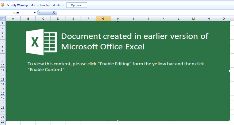 Figure 4. Picture of fake Excel warning.