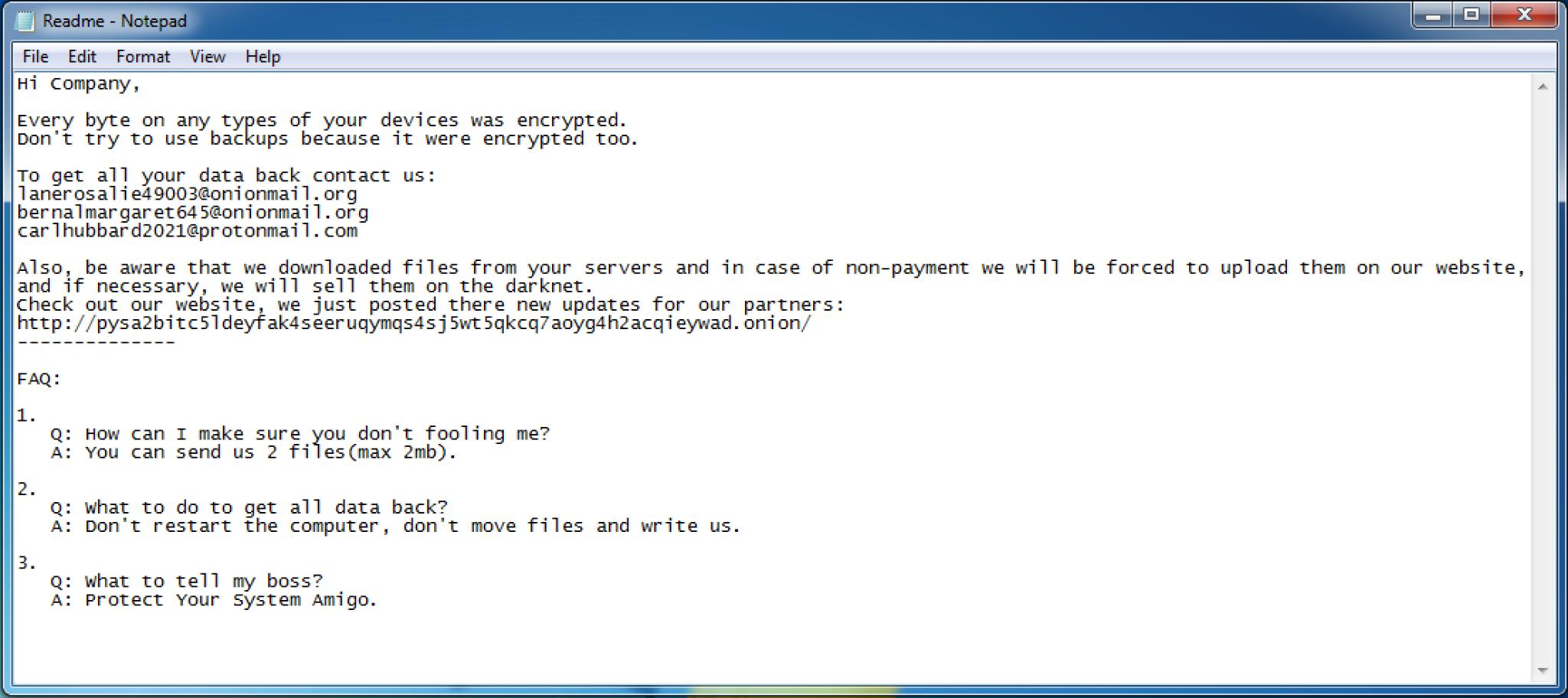 A screenshot of a note from the Mespinoza ransomware gang.