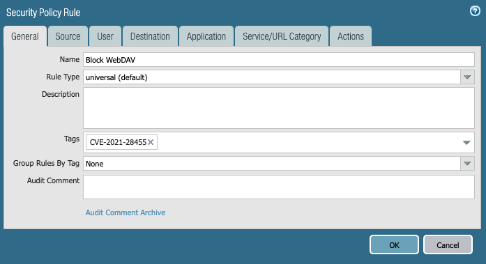 Example of filling out a Security Policy Rule in App-ID for the Next-Generation Firewall.