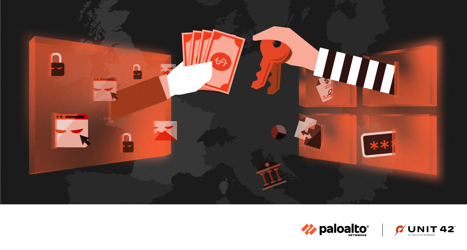 A conceptual image representing ransomware, including the emerging ransomware groups covered here: AvosLocker, Hive, HelloKitty and LockBit 2.0.