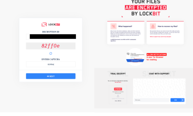 The support site login for LockBit 2.0 is shown on the left and the LockBit support chat interface is shown on the right.