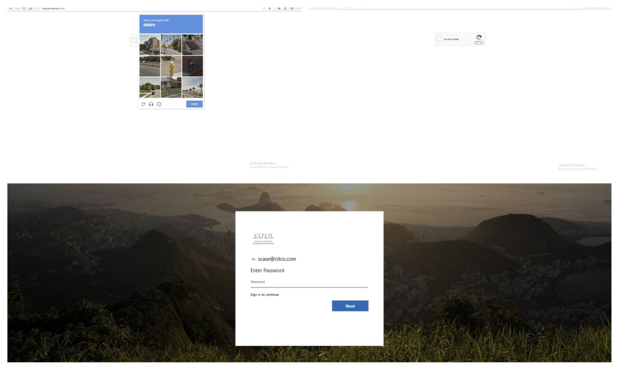 Screenshot of a CAPTCHA-protected phishing campaign seeking Microsoft account credentials.
