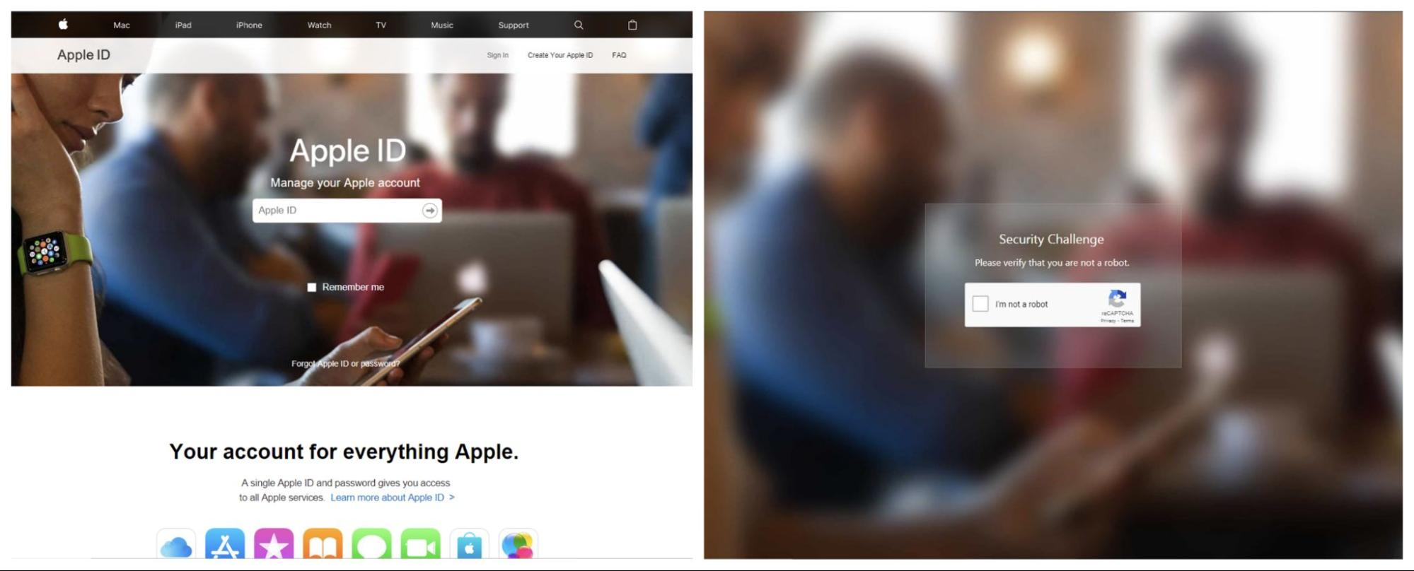 Screenshot of of a webpage phishing for Apple ID.