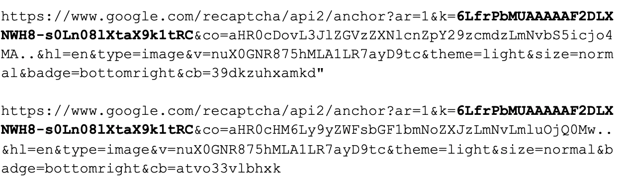 The sub-requests shown reveal the reCAPTCHA API key used in the URL parameters. Re-CAPTCHA API keys are bold.