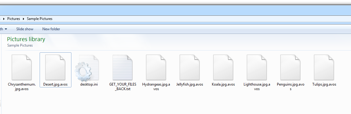 Files encrypted by AvosLocker typically use the .avos extension, as shown here.