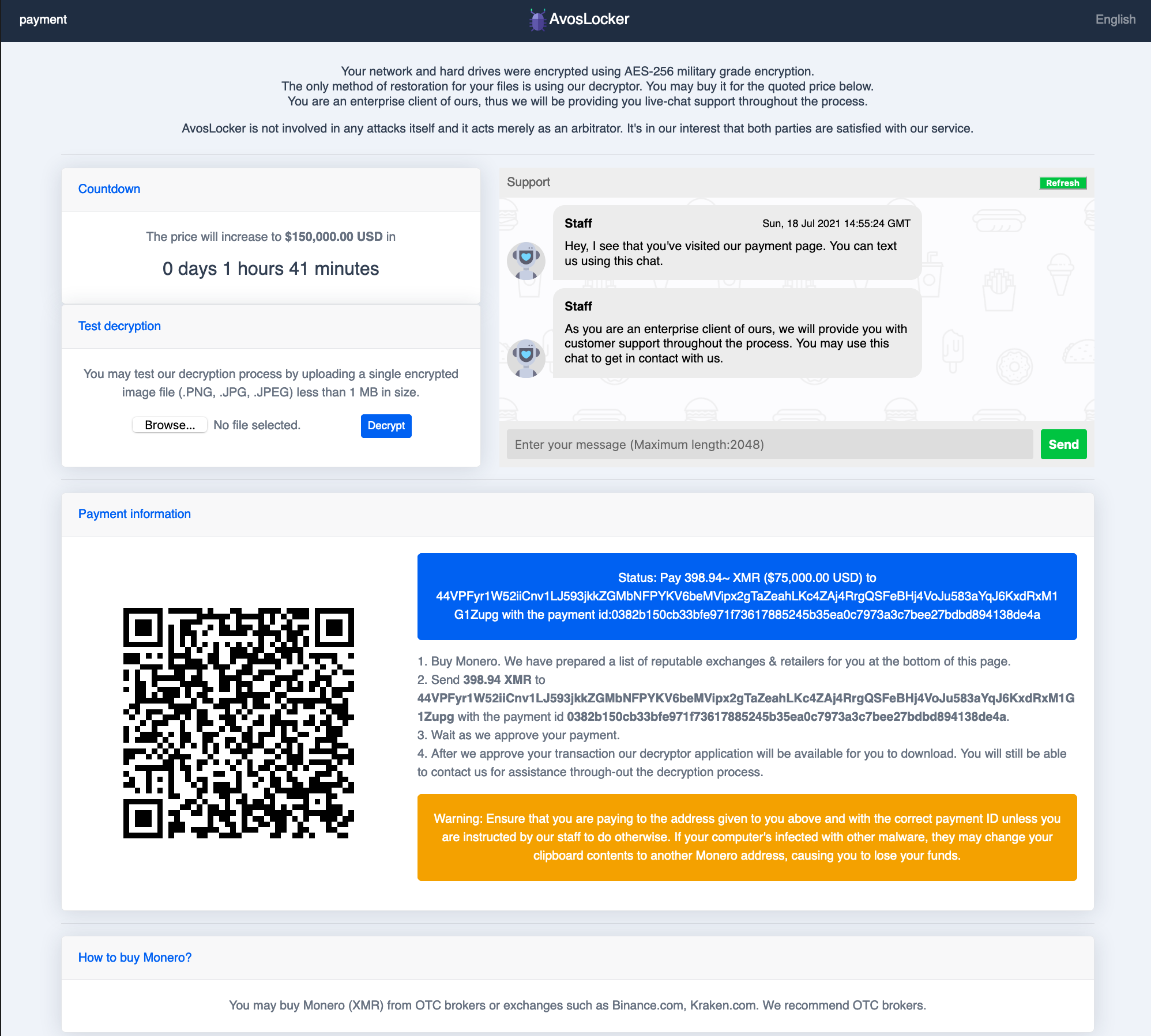 The AvosLocker support page shown features information about the ransomware and the claim that AvosLocker is not involved in attacks but instead acts as an arbitrator. It also features a countdown, a test decryption widget, an opportunity to chat with support staff, and information on how to pay.