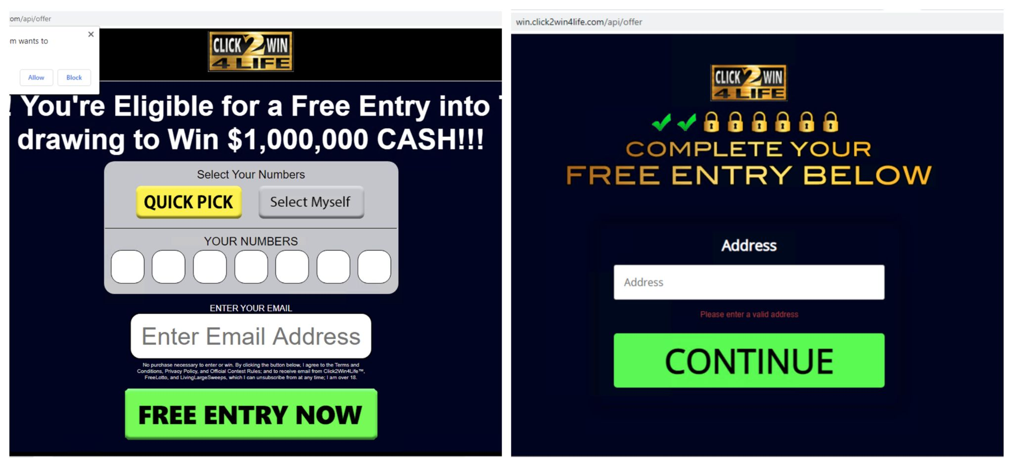 Screenshot of Click to Win 4 Life lottery scam.