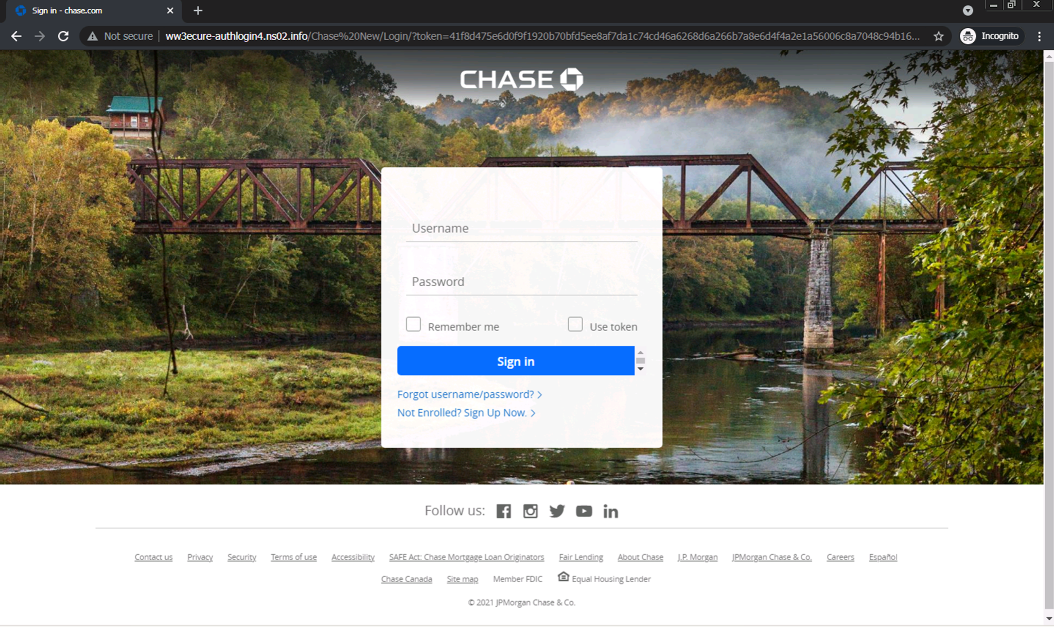 ww3ecure-authlogin4[.]ns02[.]info/Chase%20New/: A typical example of a consumer phishing attack targeting Chase bank.