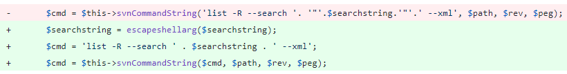 To fix a vulnerability that made it possible to achieve code execution by including special characters in the search query, the code was changed to sanitize the user input with escapeshellarg before concatenating it to the other command arguments, as shown here.